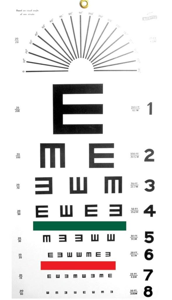 visual acuity tumble E chart